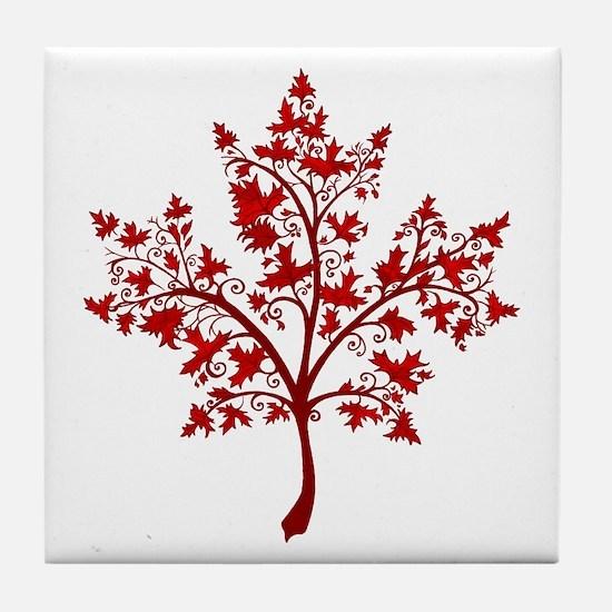 Canadian Maple Leaf Tree Tile Coaster