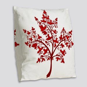 Canadian Maple Leaf Tree Burlap Throw Pillow