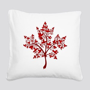 Canadian Maple Leaf Tree Square Canvas Pillow