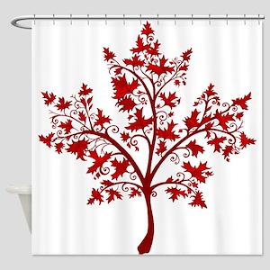 Canadian Maple Leaf Tree Shower Curtain