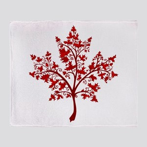 Canadian Maple Leaf Tree Throw Blanket