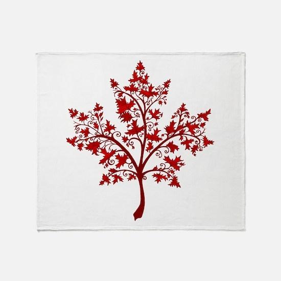 Canadian Maple Leaf Tree Throw Blanket