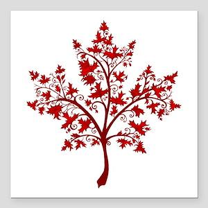 "Canadian Maple Leaf Tree Square Car Magnet 3"" x 3"""