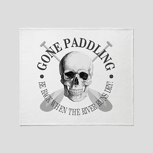 Gone Paddling -Skull Throw Blanket