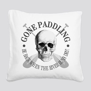 Gone Paddling -Skull Square Canvas Pillow