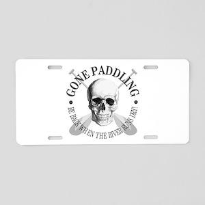 Gone Paddling -Skull Aluminum License Plate