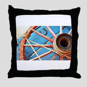 Blue Wagon Wheel Throw Pillow