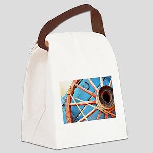 Blue Wagon Wheel Canvas Lunch Bag