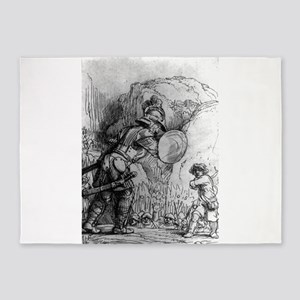 David and Goliath - Rembrandt - 1655 5'x7'Area Rug