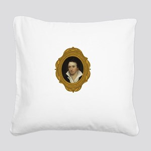 Percy Shelley White Square Canvas Pillow