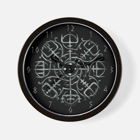 Viking Compass Clock - Silver Wall Clock