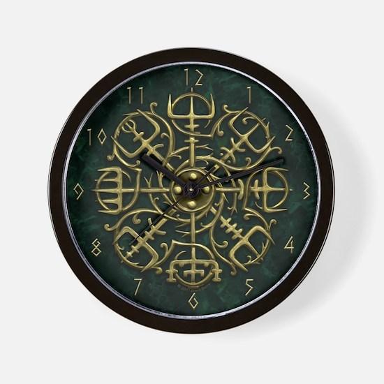 Viking Compass Gold Clock Wall Clock