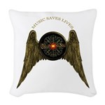 Music Saves Lives - Wings 2 Woven Throw Pillow