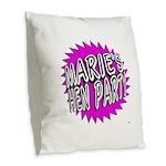 Maries Hen Party Burlap Throw Pillow