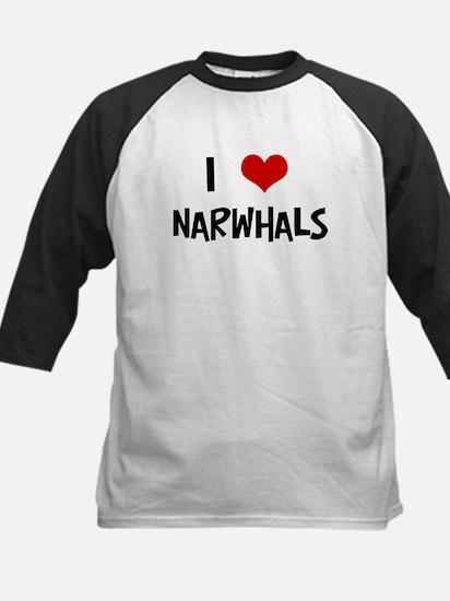 I Love Narwhals Kids Baseball Jersey