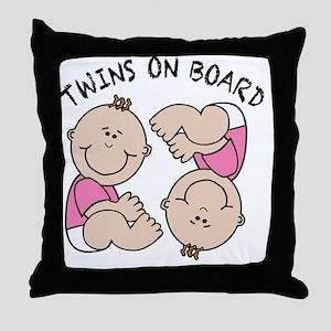 Twin Girls on Board Throw Pillow