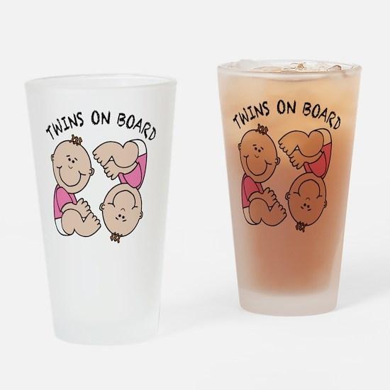 Twin Girls on Board Drinking Glass