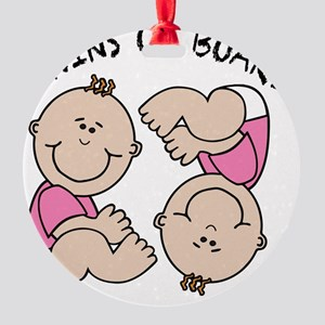 Twin Girls on Board Round Ornament