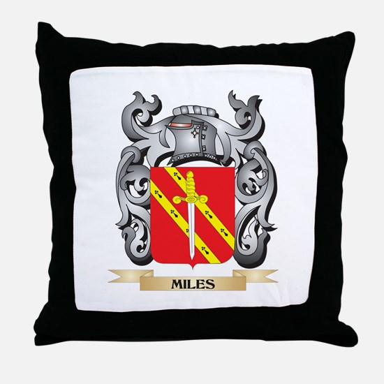 Miles- Coat of Arms - Family Crest Throw Pillow