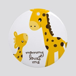 Mother and child Giraffe Round Ornament