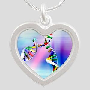 DNA replication Silver Heart Necklace