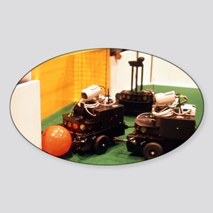 Robots trying to score a goal at Ro Sticker (Oval)