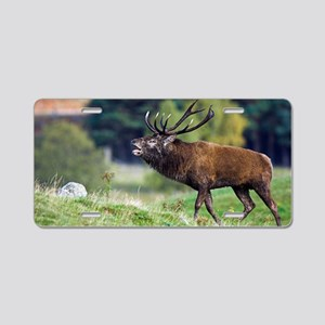 Rutting red deer stag Aluminum License Plate