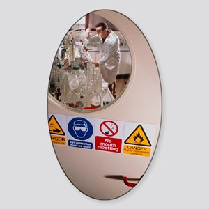 Safety signs seen on a laboratory d Sticker (Oval)