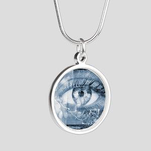 Security surveillance Silver Round Necklace