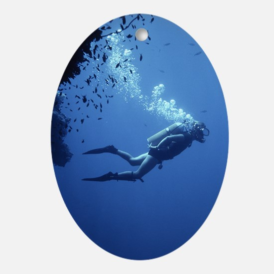 Scuba diver Oval Ornament
