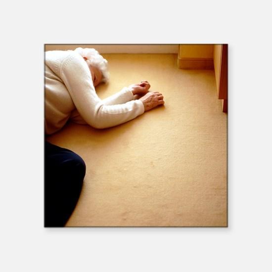 "Elderly woman lying on the  Square Sticker 3"" x 3"""
