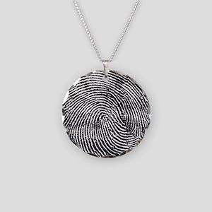 Enlarged fingerprint Necklace Circle Charm