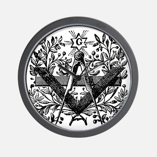 Masonic Working Tools with Laurel Wall Clock