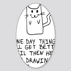 Here is the drawing of a cat_CP Sticker (Oval)