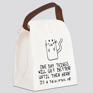 Here is the drawing of a cat_CP Canvas Lunch Bag