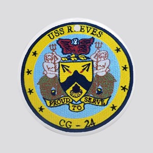 uss reeves cg patch transparent Round Ornament