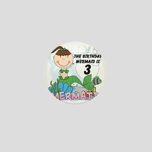 Mermaid 3rd Birthday Mini Button