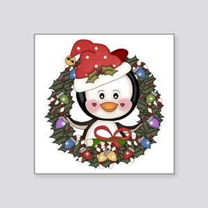 "Christmas Penguin Holiday W Square Sticker 3"" x 3"""