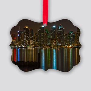 Full moon over San Diego Picture Ornament