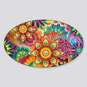 Psychedelic Floral Pattern Red Green Blue Sticker