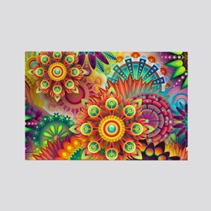 Psychedelic Floral Pattern Red Green Blue Magnets