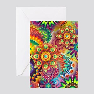 Psychedelic Floral Pattern Red Green Blue Greeting