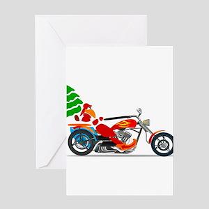 Biker Santa Greeting Cards