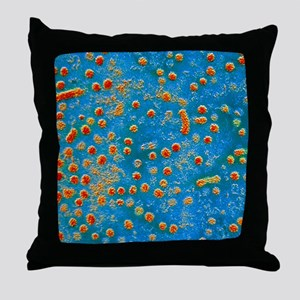 False-colour TEM of Hepatitis B virus Throw Pillow