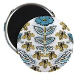 Blue Flower Bees Magnets