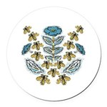 Blue Flower Bees Round Car Magnet