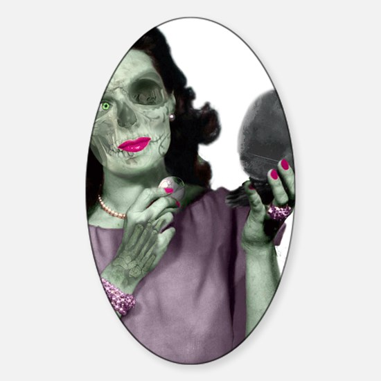 Pin Up Zombie Girl Sticker (Oval)