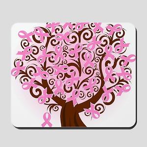 breast cancer pink ribbon tree Mousepad