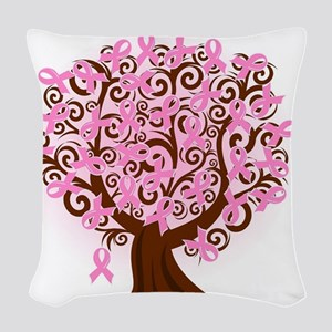 breast cancer pink ribbon tree Woven Throw Pillow