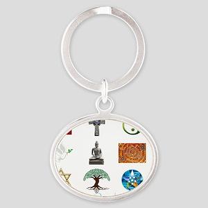 Many paths - One destination Oval Keychain